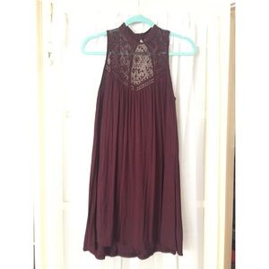 American eagle high neck lace burgundy dress